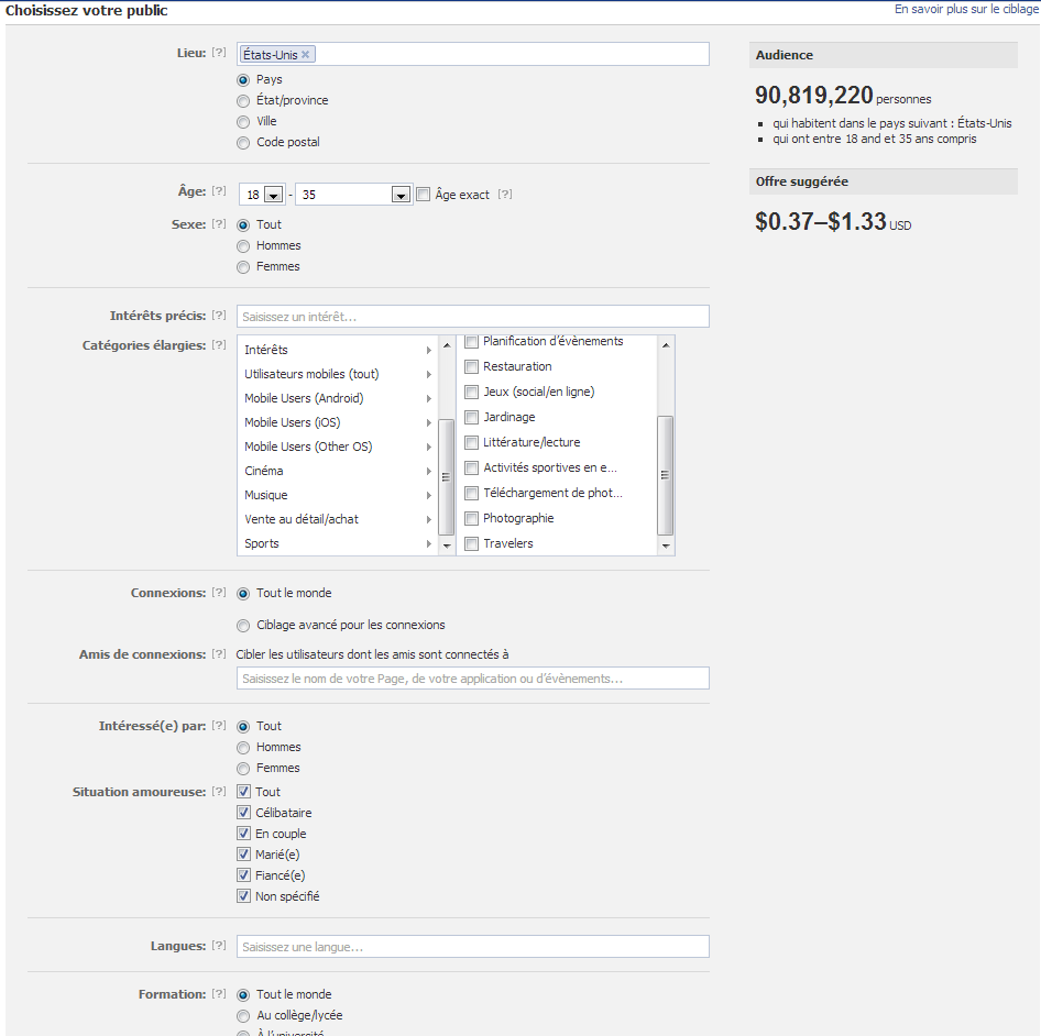 Facebook screenshot showing ad settings