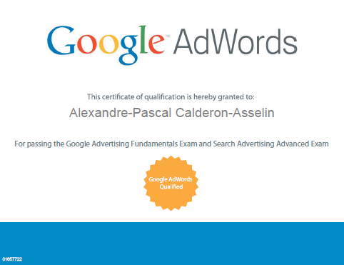 certificat adwords