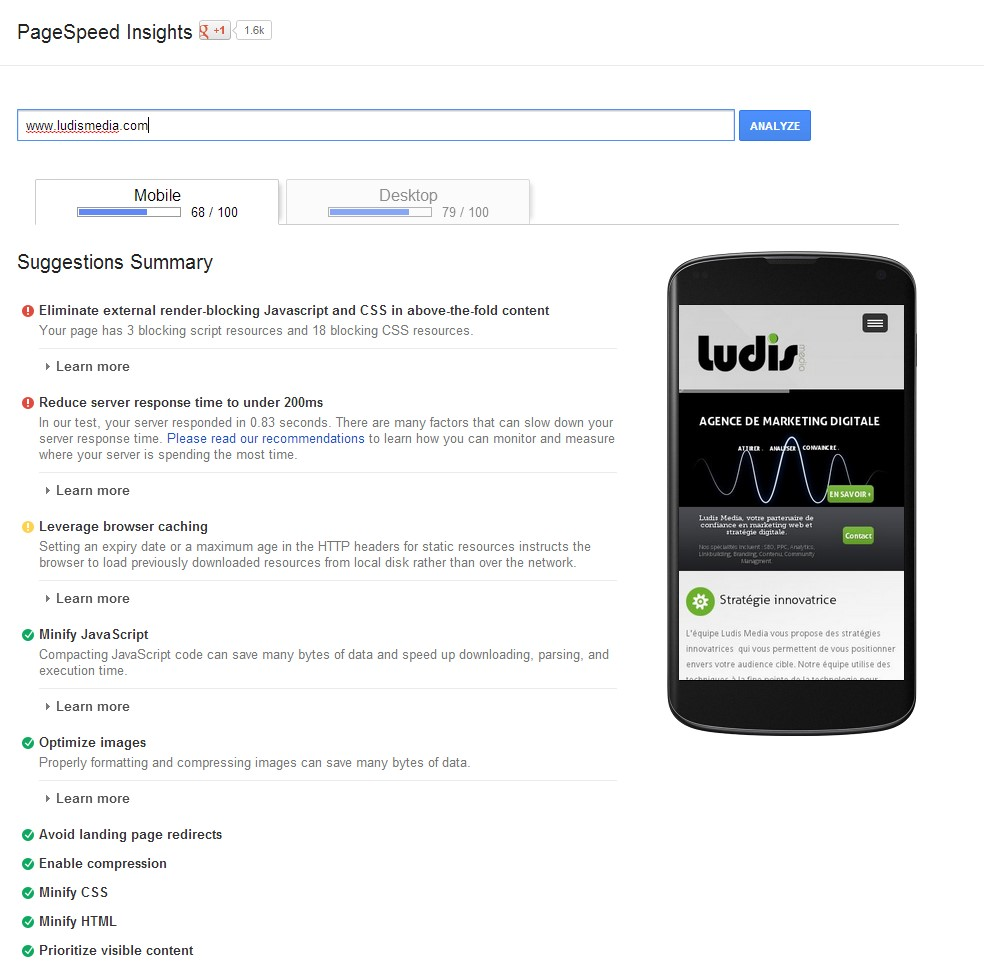 Outils Pagespeed Insight mobile