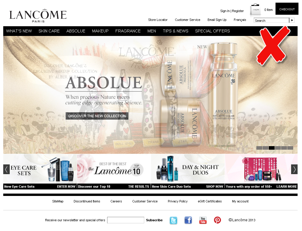 screenshot example lancome