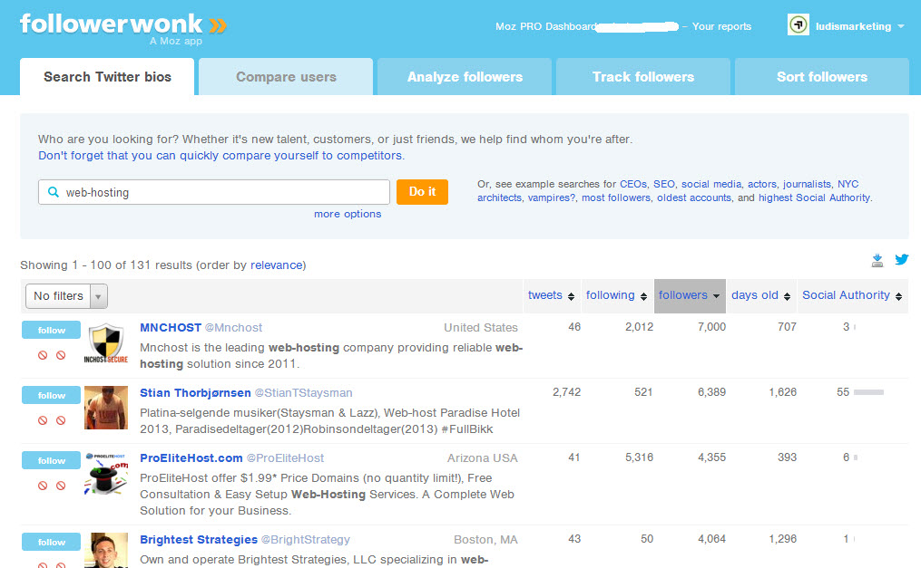 followerwonks webhosting example screenshot