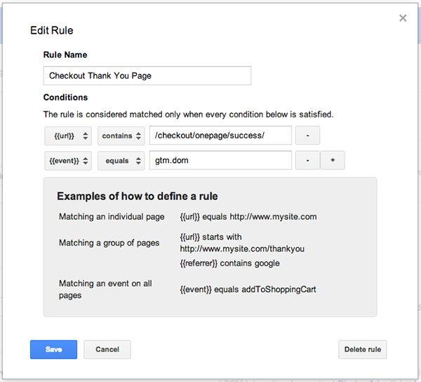 google tag manager triggering rule popup A Guide To E Commerce Conversion Tracking Using Google Tag Manager