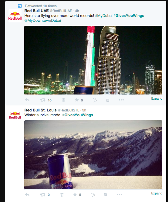 RedBull example of strong social media use