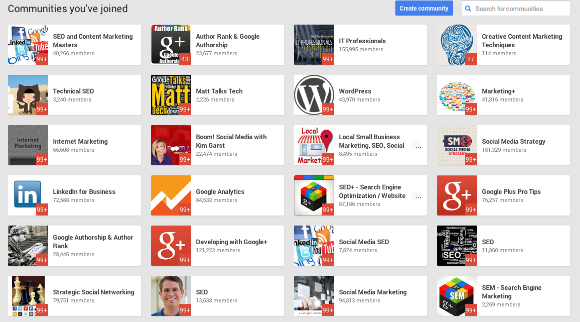 Google+ Communities to research and join