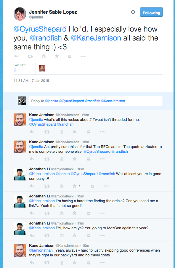 Twitter conversation example