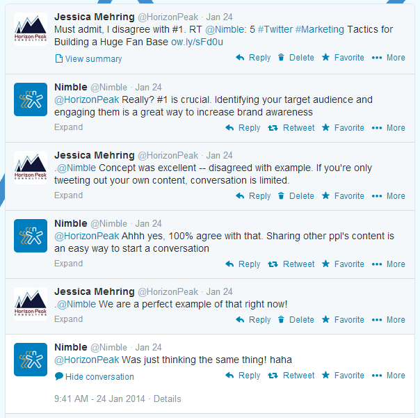 Twitter conversation example - to show value in effort