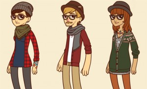 Dessin cartoon de trois types de hipsters