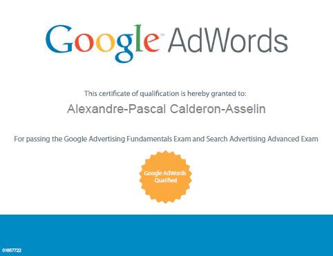 certificat adwords