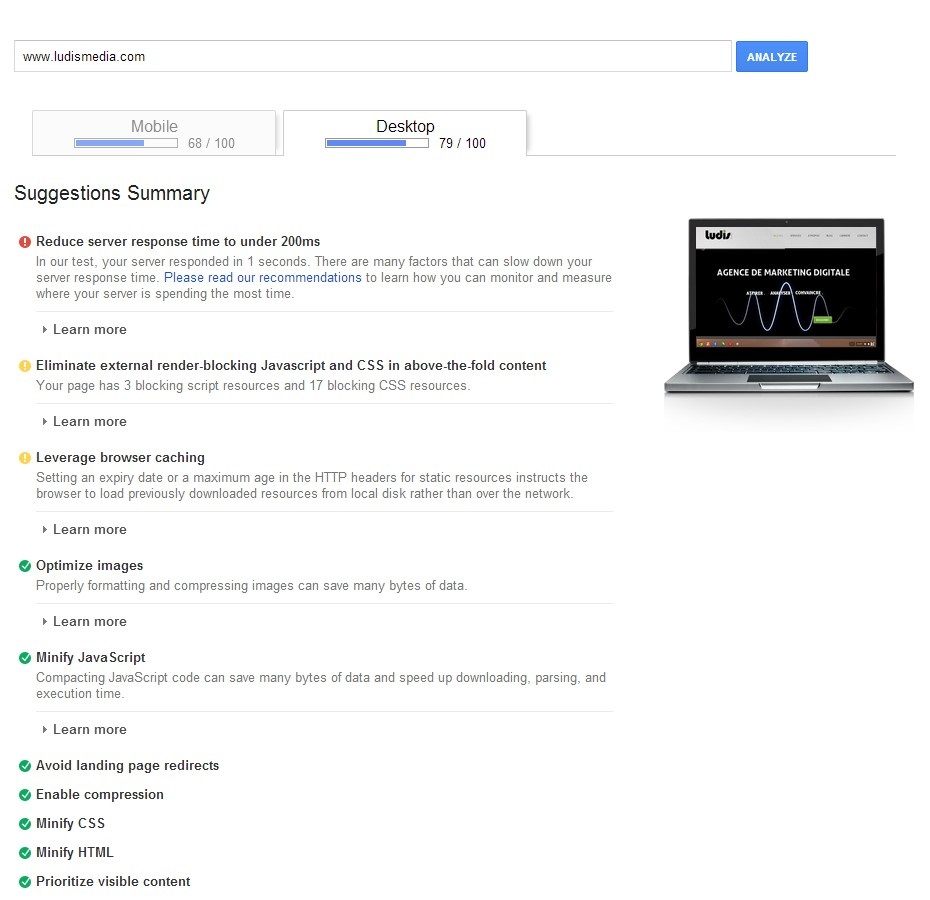 Outils Pagespeed Insight Desktop