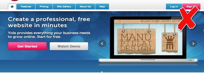 screenshot example website