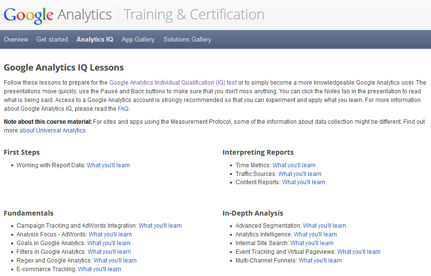 GAIQ 2013 training and certification center
