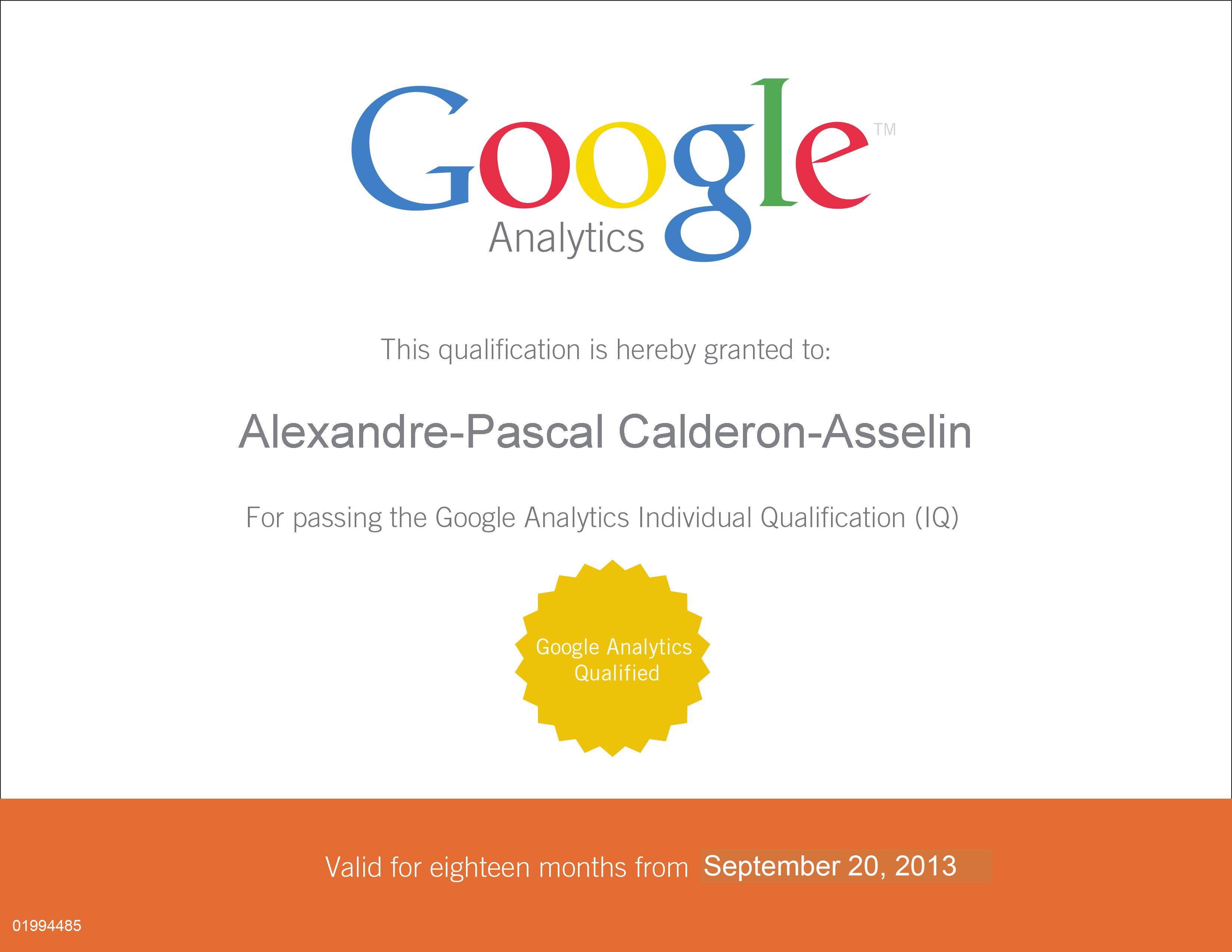 Google Analytics Certificate GAIQ 2013