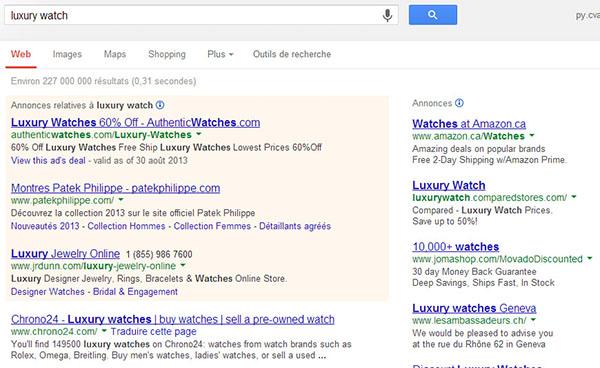 luxury-watches-serp-no-google-shopping