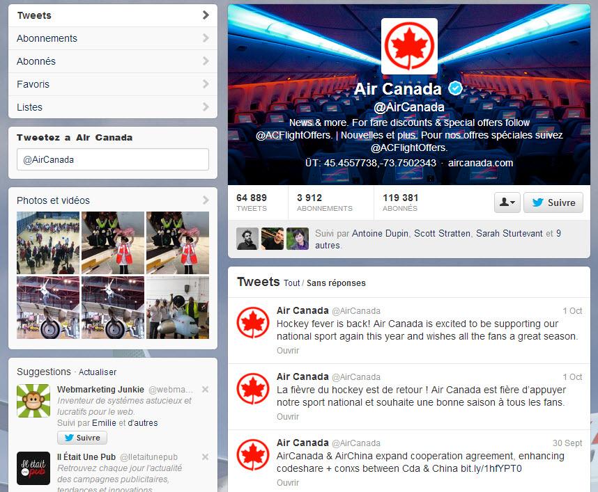 Air Canada Twitter