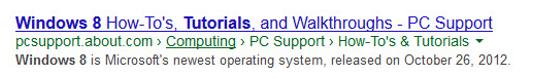 Windows 8 on SERPs