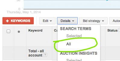 filtering-search-terms-google-analytics-dropdown-menu