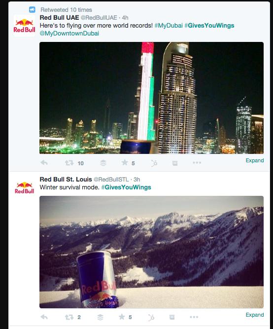 RedBull example of strong social media use