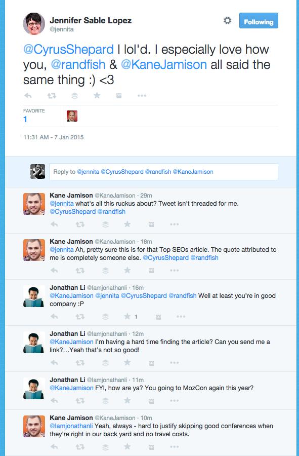 Twitter conversation example