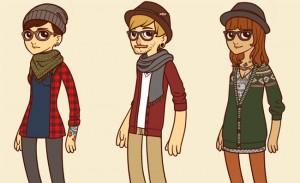 Dessin cartoon de trois types de hipsters